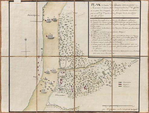 Plan de de l'action de Gloucester, pendant la Guerre d'Indépendance américaine, le 25 novembre 1777 entre Lafayette et un corps de l'armée de Lord Cornowalis. Estimation: 60.000 / 80.000 €.