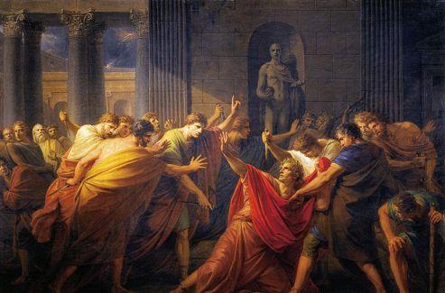 44 av.J-C.: Jules César tué dans l'enceintedu Sénat romain (tableau de Fuger)