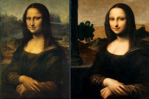 La Joconde, exposée au Louvre (à gauche) face à son double de dix ans sa cadette, entreposée en Suisse.