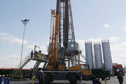 Zone d'exploitation de gaz de schiste en Pologne via la très controversée technique de fracturation hydraulique, seule technique employée à ce jour.