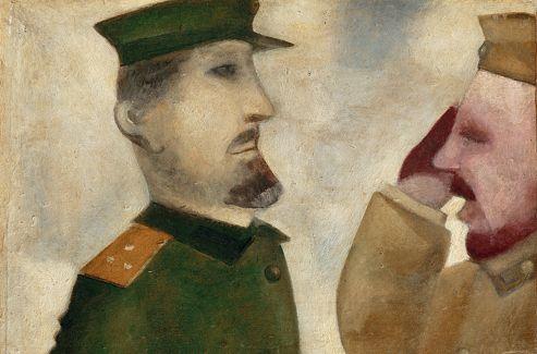 Le Salut , 1914. Chagall raconte dans son autobiographie,  Ma vie  (1958), qu'il évite l'enrôlement dans les troupes grâce au frère de sa fiancée. Le peintre magique de Paris ( La Chambre jaune , 1911, avec son basculement, sa vache sur le plancher, sa porte ouverte sur un village éclairé par la lune) est employé dans un bureau de Saint-Pétersbourg. Il observe le désarroi des familles, le va-et-vient des soldats. Dans cette petite huile sur carton si moderne, le visage du soldat est infusé de rouge et le gradé a la pâleur grotesque du cinéma muet.