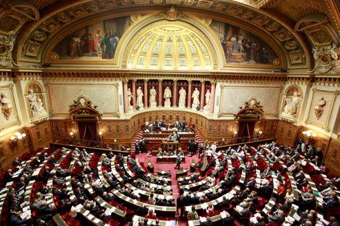 L'hémicycle du Sénat au Palais du Luxembourg à Paris.