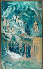 Évocation  (L'enterrement de Casagemas) , Picasso, 1901. Crédits: Bulloz-RMN-Musée d'Art Moderne/Succession Picasso/Courtauld Gallery