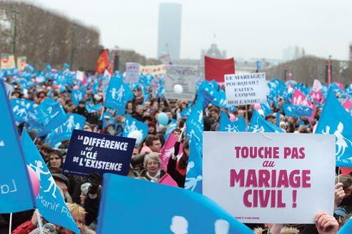 La Manif pour tous sur le Champ-de-Mars, à Paris, le 13 janvier 2013.