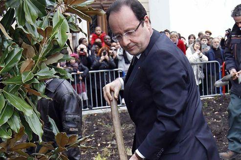 François Hollande plante, dimanche à Toulouse, un magnolia symbolisant la dignité,lors des cérémonies de commémoration pour les victimes de Mohamed Merah.