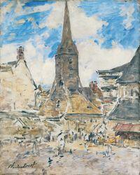 Honfleur, le clocher Sainte-Catherine  porte la marque incontestable du style rectiligne deBoudin.