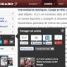 Chaque article présente une «télécommande», qui donne un accès rapide aux principales fonctions, dont le partage.