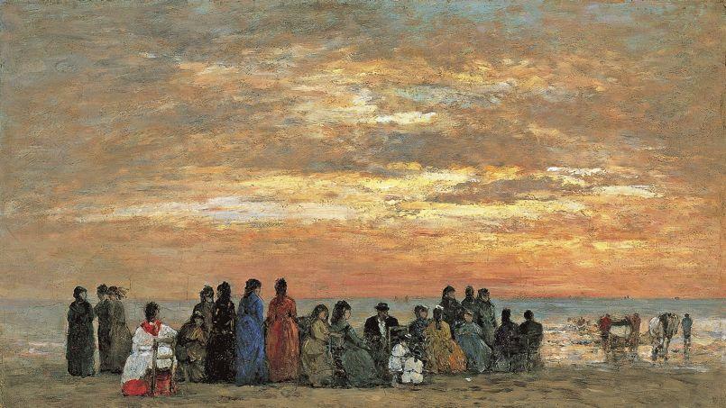 <i>Scène de plage</i>, Eugène Boudin, 1869.