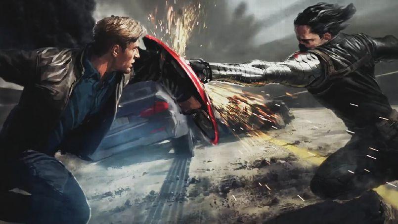 Captain America affronte Winter Soldier, dans <i>Captain America 2: Le soldat d'hiver.</i>