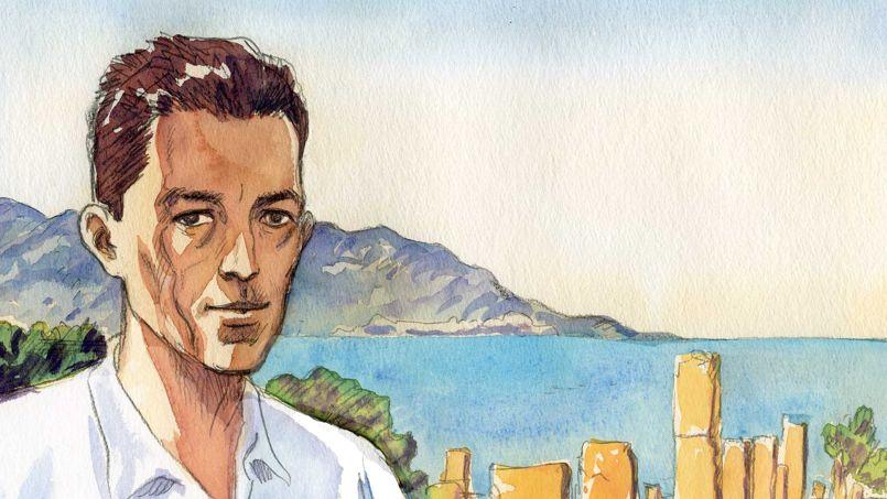 Albert Camus dans un dessin original de Jacques Ferrandez pour <i>Le Figaro</i>.