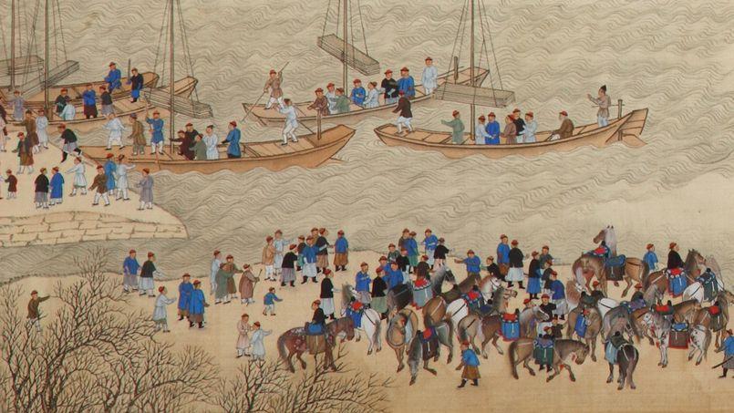 Détail du fragment du rouleau n°6: «Voyage d'inspection dans le Sud» de l'empereur Kangxi. (Crédit: Hôtel de ventes Bordeaux Sainte-Croix)