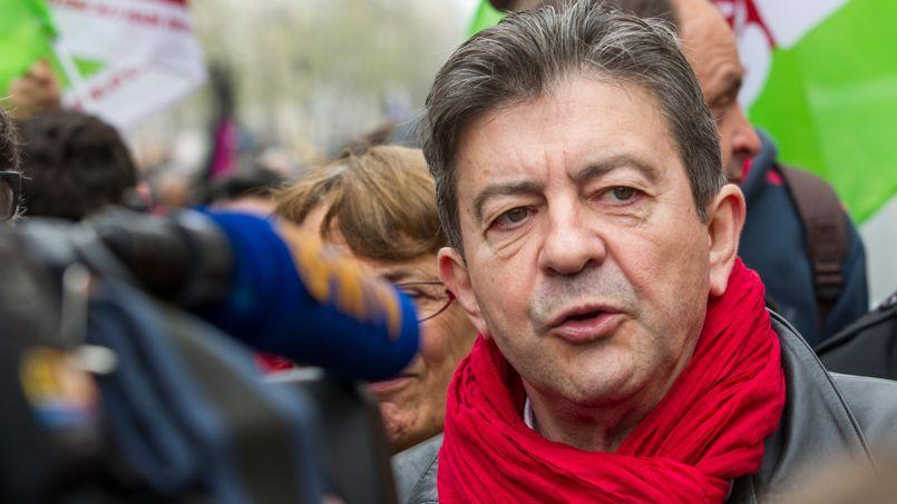Jean-Luc Mélenchon lors du défilé du 1er Mai de la CGT, à Paris.
