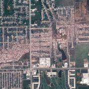 La trace de la tornade vue par satellite