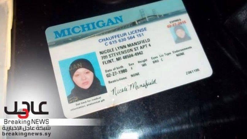 Permis de conduire de l'Américaine Nicole Lynn Mansfield, présentée par les autorités syriennes à la télévision d'État.