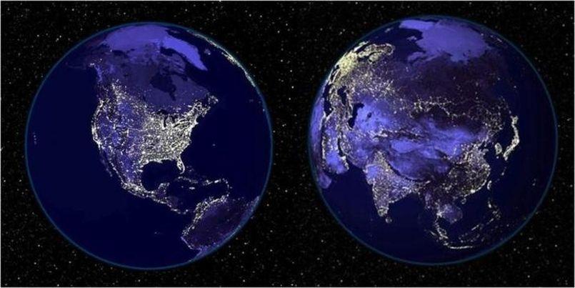 La Terre la nuit vue de l'espace, les lumières trahissant la présence des zones les plus peuplées.