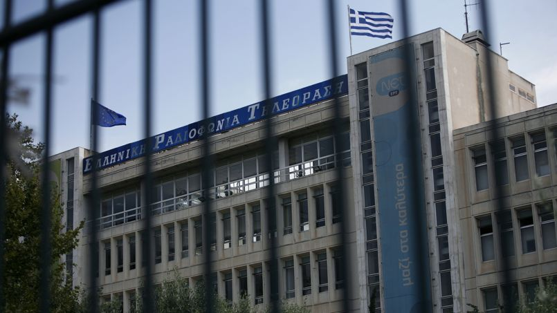 Le siège du groupe audiovisuel public grec,à Athènes. 2950 employés se réveillent sans emploi ce mercredi.