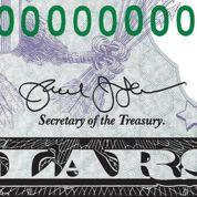Enfin une signature lisible sur les dollars