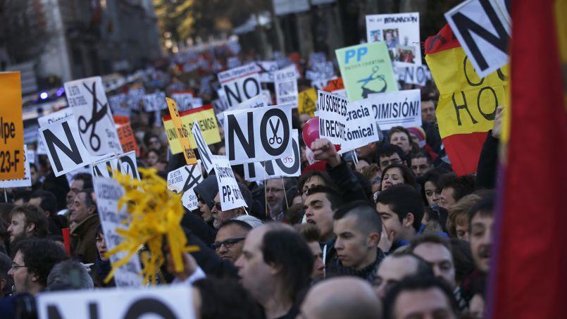 Une manifestation contre l'austérité à Madrid, en février dernier.