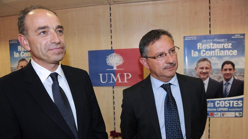Jean-François Copé et Jean-Louis Costes, qui représentera l'UMP au deuxième tour de la législative partielle dans le Lot-et-Garonne.