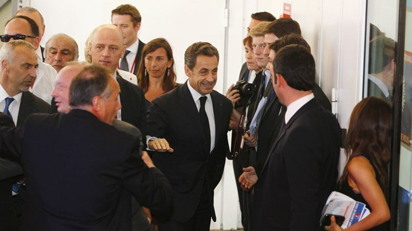 Nicolas Sarkozy, à son arrivée au bureau politique de l'UMP, le 8 juillet 2013.