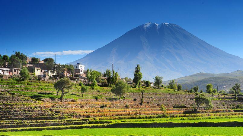 Au pied du volcan Mismi, aux alentours d'Arequipa, les villageois entretiennent les terrasses pré-incas.