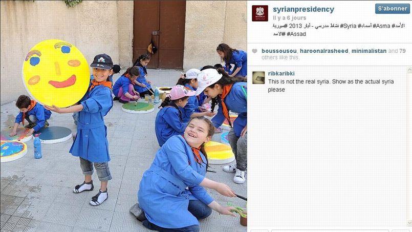 Capture d'écran du compte Instagram de la présidennce syrienne.