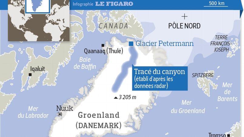 Un canyon géant sous la calotte glaciaire du Groenland