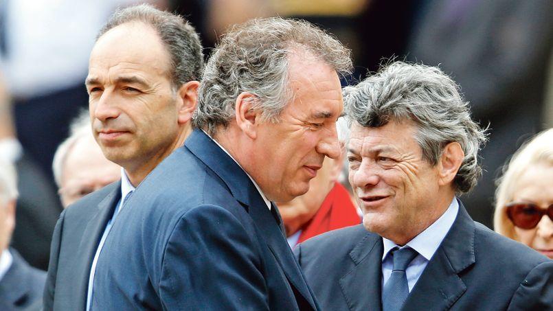 Jean-François Copé, François Bayrou et Jean-Louis Borloo, aux obsèques de Pierre Mauroy, le 11 juin à Paris.