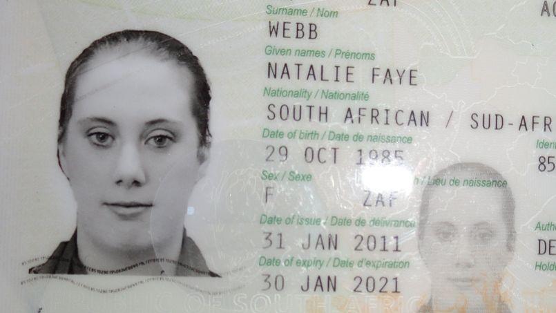 Una foto di Samantha Lewthwaite dal suo falso passaporto sudafricano.