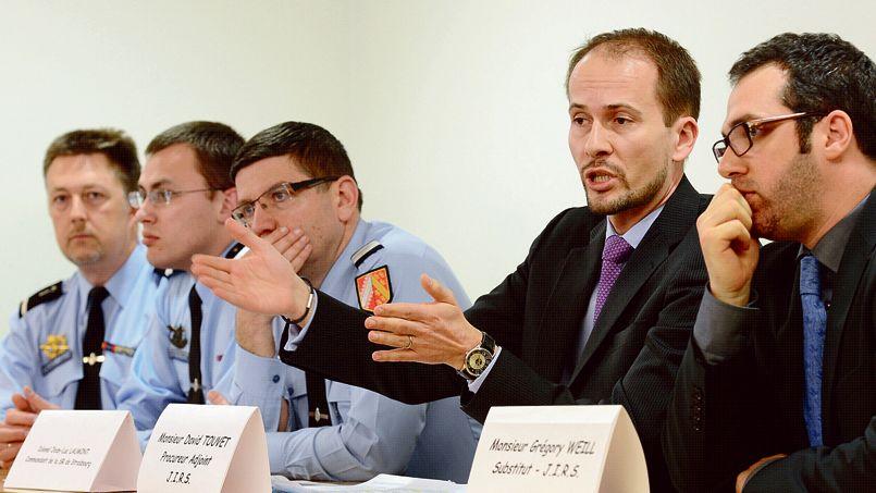 L'équipe de la Jirs (Juridiction interrégionale spécialisée) de Nancy, le 4 avril, lors de l'annonce du démantèlement du réseau croate.