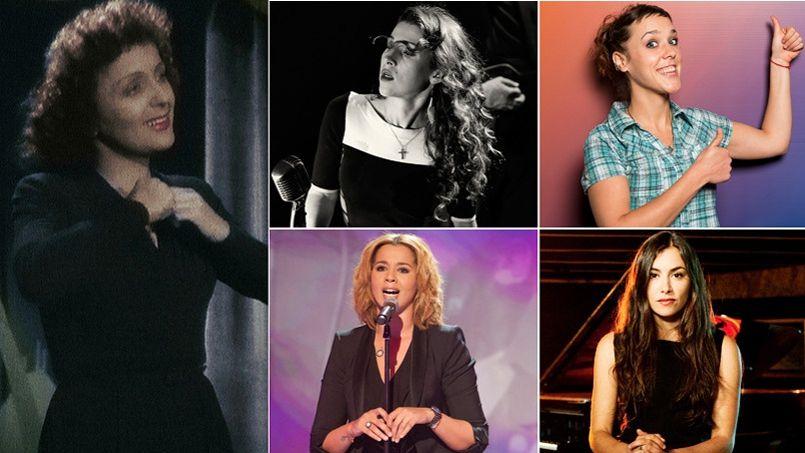 De Gauche à droite et de haut en bas: Édith Piaf, Laure Préchac, Zaz, Chimène Badi et Olivia Ruiz.