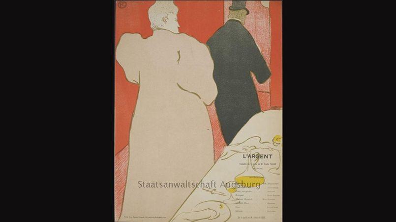 Programme pour <i>L'Argent</i>, lithographie en couleur de Toulouse-Lautrec, 1895.