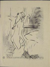<i>Étude de femme</i>, lithographie de Toulouse-Lautrec, 1893.