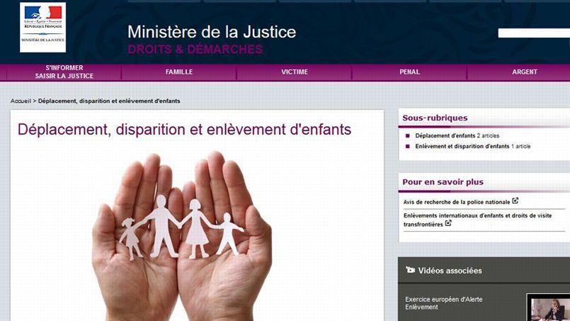 Sur la page Internet du ministère de la Justice consacrée aux disparitions d'enfants, un logo très proche de celui de la Manif pour tous.