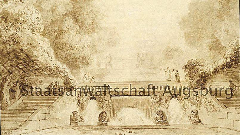 Vue d'un parc avec treilles, fontaine et escaliers, dessin rehaussé «qui m'a tout l'air d'être un Fragonard».