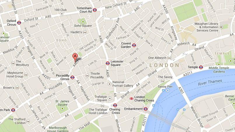 L'Apollo Theatre est situé en plein coeur de Londres. Capture d'écran Google Maps.