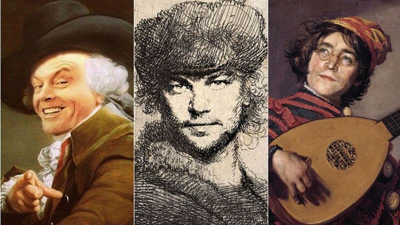 De gauche à droite: Jack Nicholson, Leonardo DiCaprio et John Lennon à la manière de Ducreux, Rembrandt et Hals.