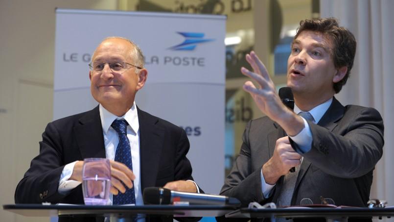 Philippe Wahl, le PDG de La Poste et Arnaud Montebourg.
