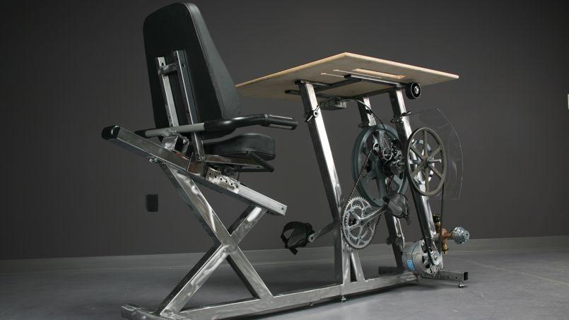 Le bureau-vélo Pedal Power producteur d'énergie.