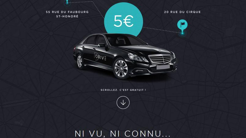 Cature d'écran d'une publicité pour un service de voitures privées avec chauffeur.