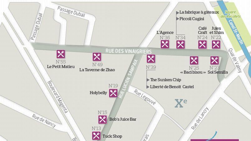 Rue des Vinaigriers - rue Lucien Sampaix : nouvel îlot branché du Xe