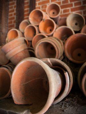 Les pots et jardinières en terre cuite qui ont passé l'hiver dehors peuvent devenir poreux ou se fendre sous l'effet du gel.