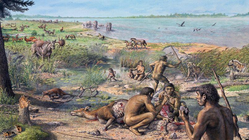 Vue d'artiste représentant des hominidés sur le site de l'actuel Happisburgh, en Angleterre.