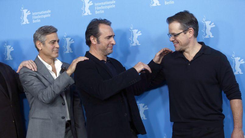 George clooney et jean dujardin font la chenille berlin - Jean dujardin et george clooney ...