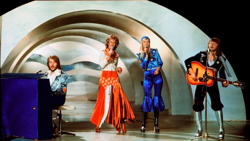 Le groupe ABBA remporte l'Eurovision le 9 février 1974 avec la chanson <i>Waterloo</i> - OLLE LINDEBORG / AFP.