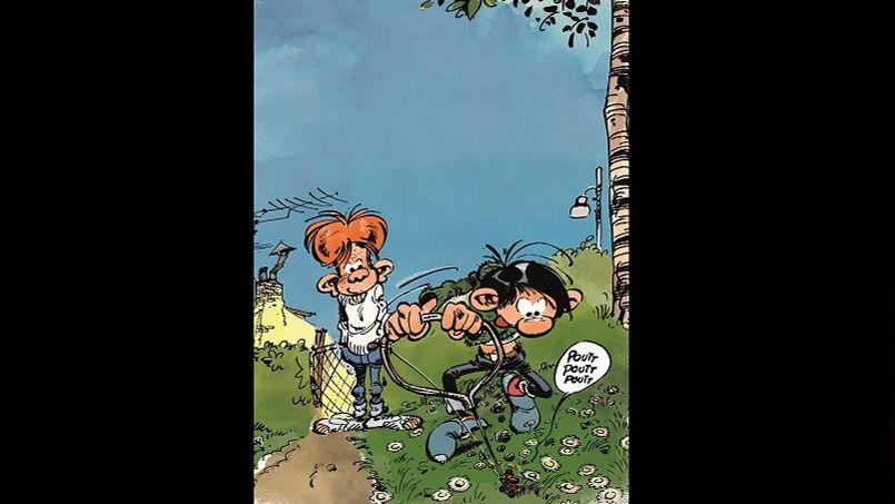 La logique et le bon sens ne sont pas forcément les principes qui guident Gaston Lagaffe dans ses raisonnements créatifs. Exemple tout trouvé: cette tondeuse à gazon miniature, pratique pour faire les finitions autour des pâquerettes du jardin de la tante Hortense.