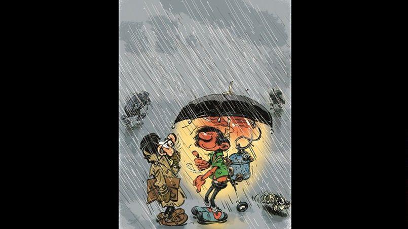 Tantôt futiles, tantôt potentiellement utiles, mais toujours insolites, les inventions de Gaston Lagaffe participent au charme de ce feignant, qui n'arrête pas de surprendre son entourage. C'est le cas lorsqu'il présente son «Parapluie simulateur de beau temps» à son collègue Léon Prunelle.