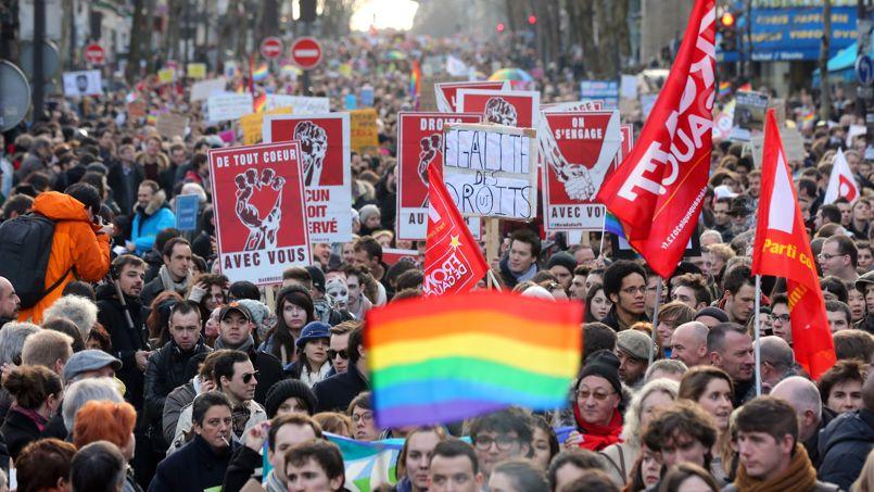 Manifestation pour la légalisation du mariage gay et LGBT, le 27 janvier 2013.
