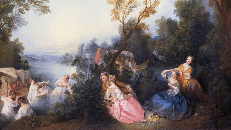 <i>Les Plaisirs du bain</i> (détail) de Nicolas Lancret, qui reprit avec infiniment de poésie et un grand succès auprès de ses contemporains le thème de la fête galante mis à la mode par Watteau quelques années plus tôt. <i>Crédits Photos: RMN-Grand Palais (musée du Louvre)</i>