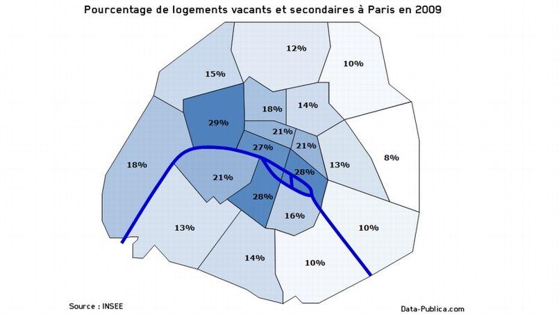 Le pourcentage de logements vacants et secondaires par arrondissements, selon des données de l'Insee analysées par Data Publica.